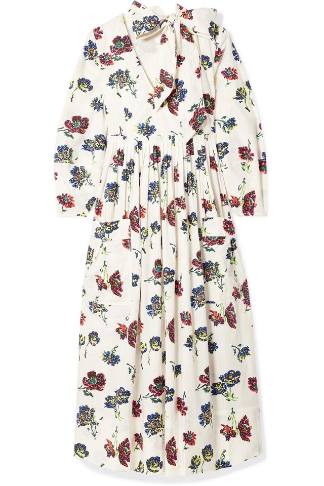 Ulla Johnson Isabeau Pleated Floral-Print Cotton-Poplin Midi Dress