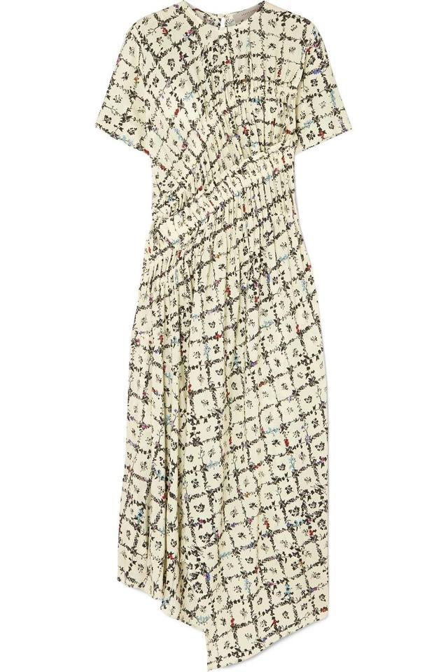 Preen Line Keziah Asymmetric Floral-Print Crepe de Chine Midi Dress
