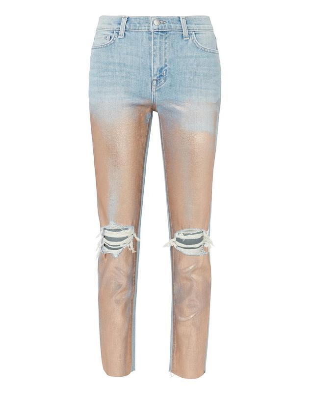 L'Agence Marcelle Foil Skinny Jeans Denim-Lt 3 27