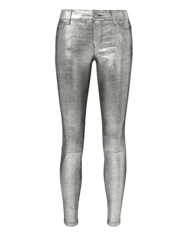 RtA Metallic Leather Jeans Silver 26