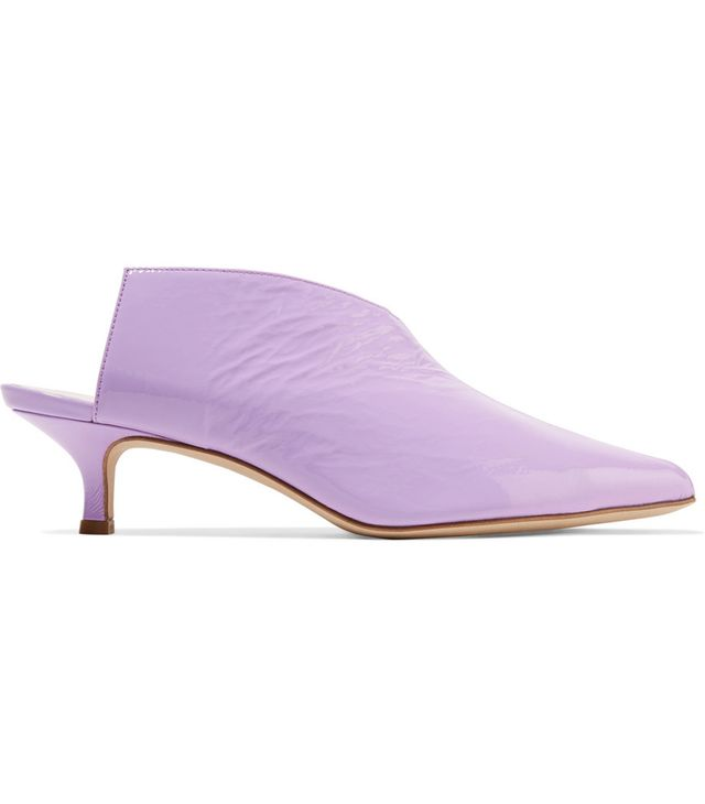 Jase Crinkled Patent-leather Mules