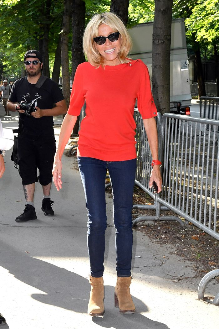 Brigitte Macron Wore Skinny Jeans and a T-Shirt to Couture Week in Paris