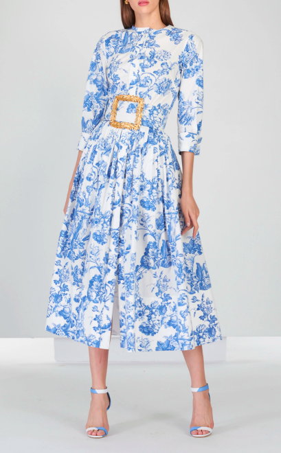 Belted Tea Length Dress
