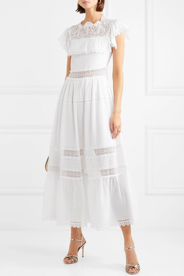 Alicia Lace-trimmed Cotton-voile Dress