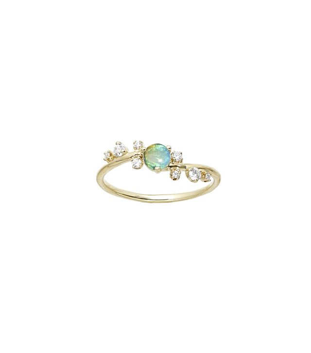 Wwake Organic Crossover Opal & Diamond Ring