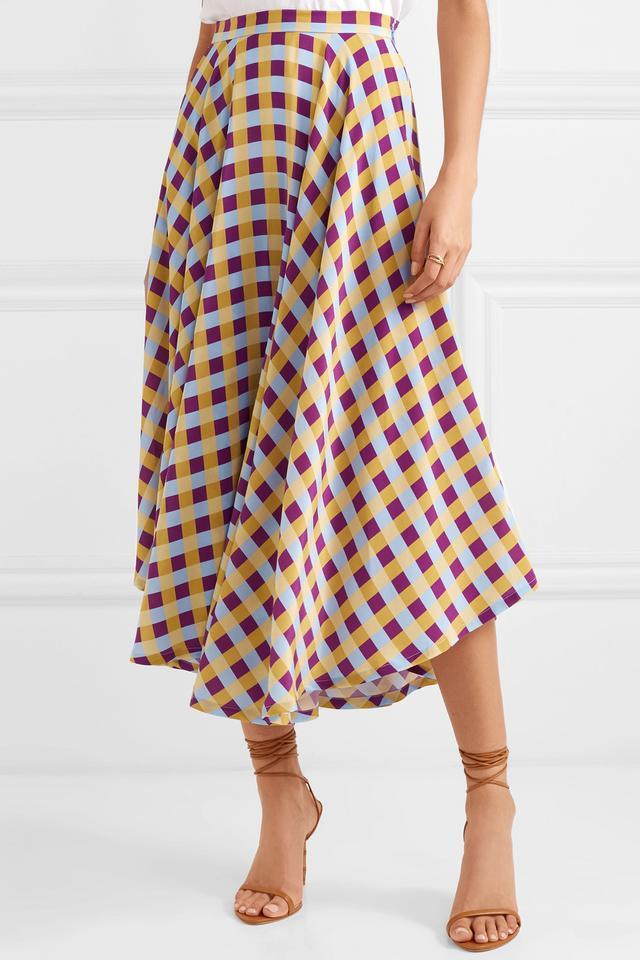 French Riviera Gingham Silk Crepe De Chine Midi Skirt