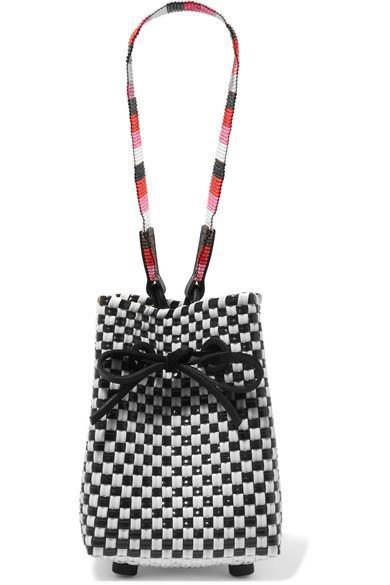 Party Mini Woven Raffia-effect Wristlet Bag