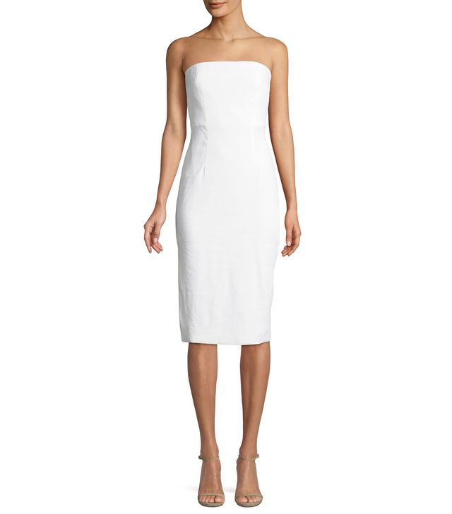 Eva Strapless Linen-Stretch Sheath Dress