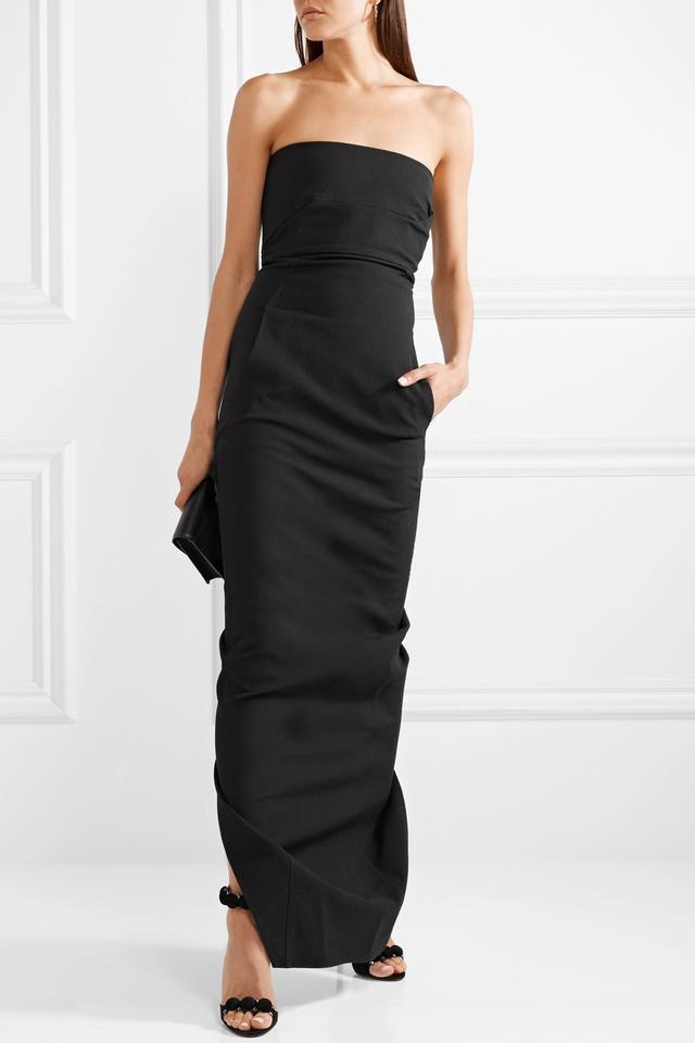 Draped Cotton-blend Crepe Gown