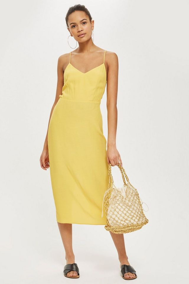 Tie Back Midi Slip Dress