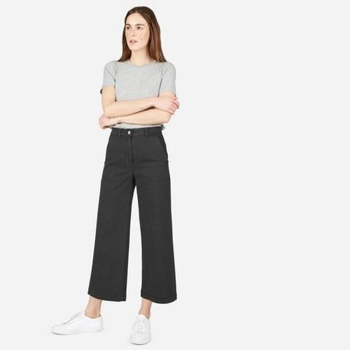 Women's Wide Leg Crop Pant by Everlane in True Black, Size 14