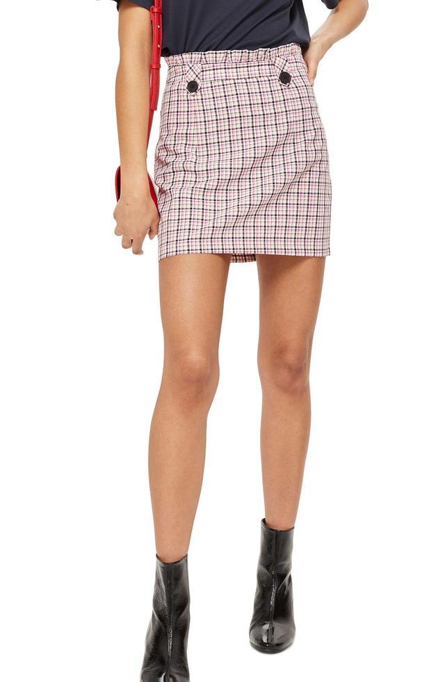 Pop Check Frill Waist Miniskirt