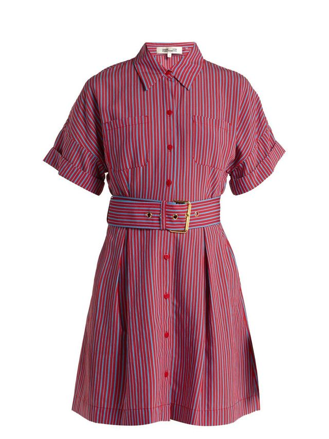 Striped patch pocket shirtdress