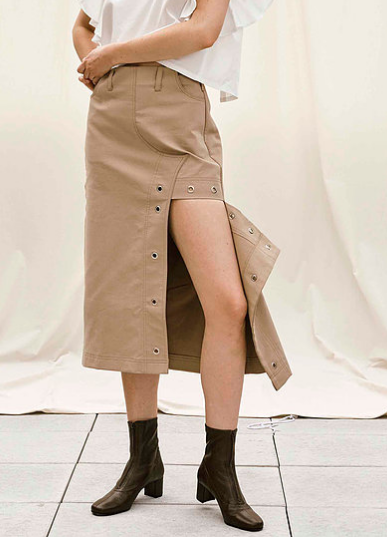 House of Sunny Deconstructed Textured Cotton Midi Skirt