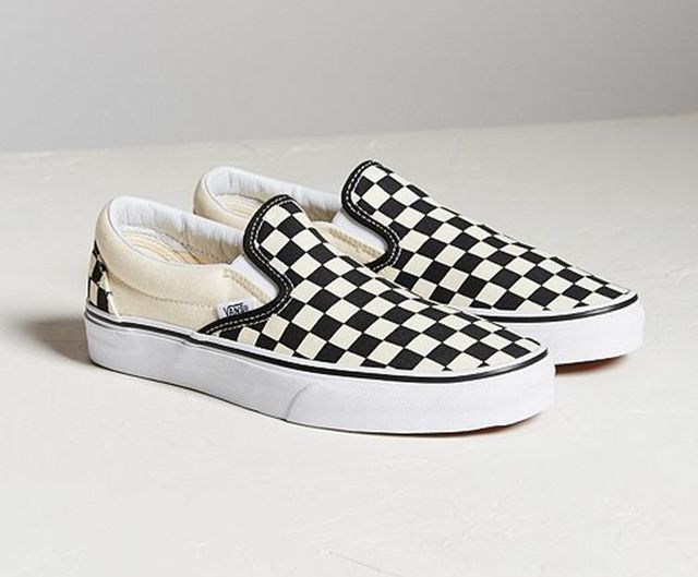 Vans Checkerboard Slip-On Sneaker - Black/White 6 1/2 at Urban Outfitters