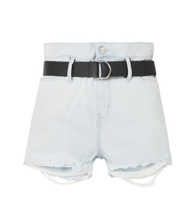 Andel Belted Distressed Denim Shorts