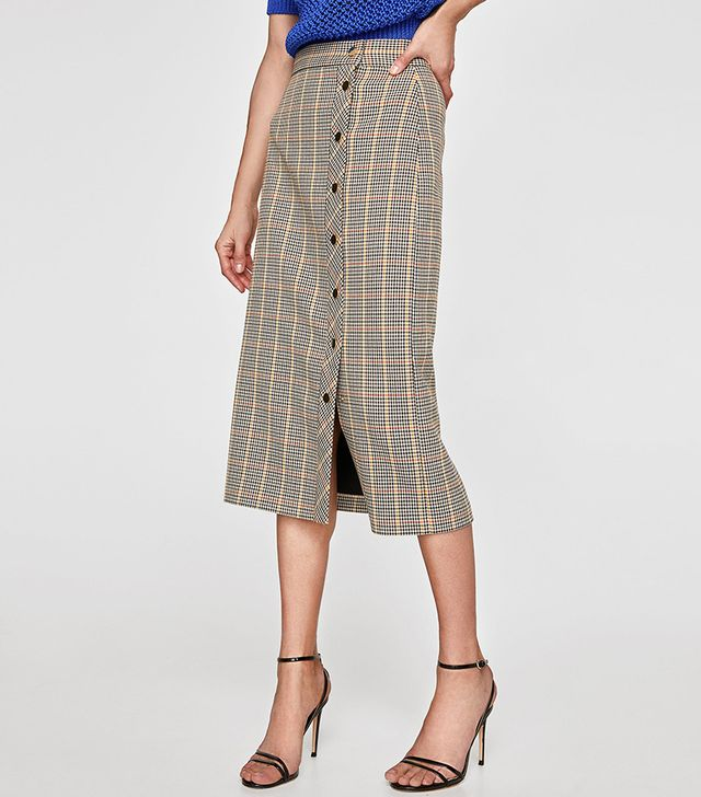 Zara Checked Pencil Skirt