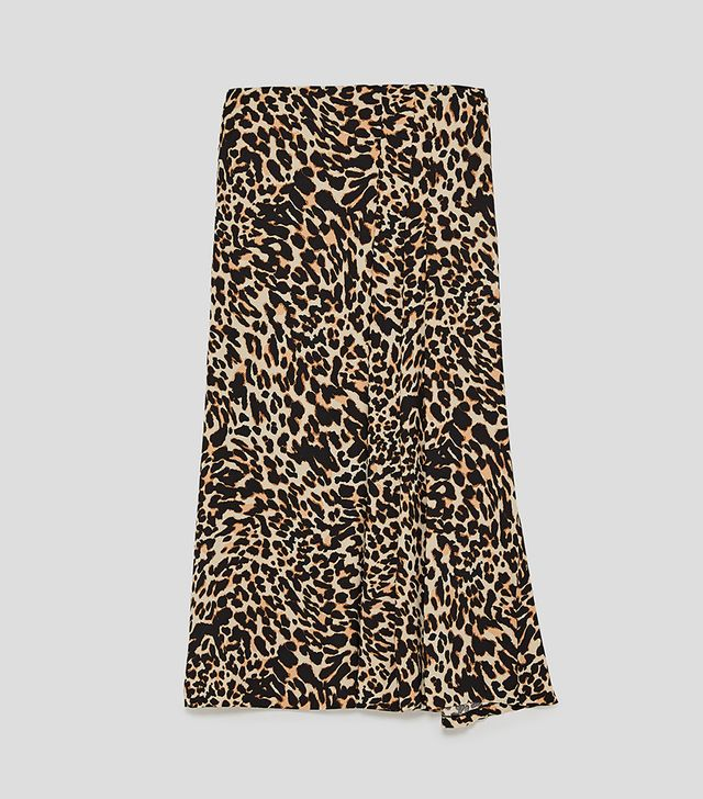 Zara Animal Print Midi Skirt