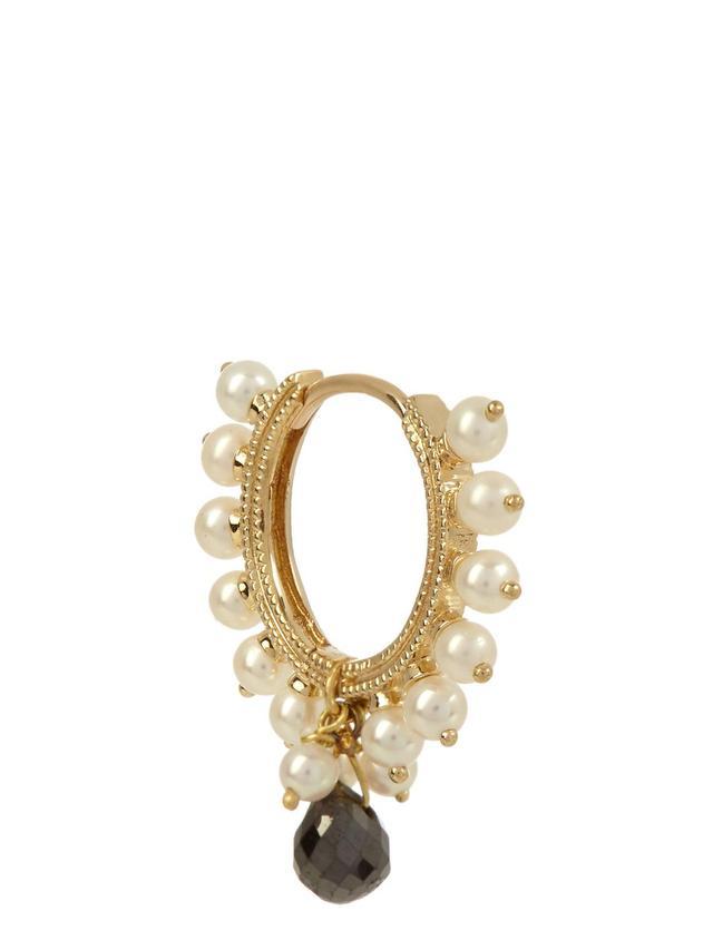 Diamond, pearl & yellow-gold single earring