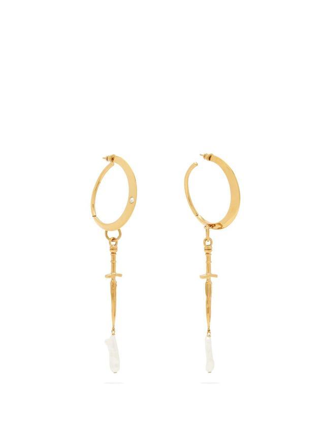 Dagger and pearl-drop hoop earrings
