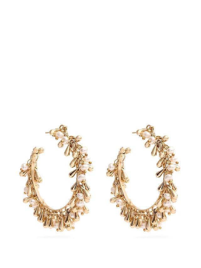Flapper pearl-embellished small hoop earrings
