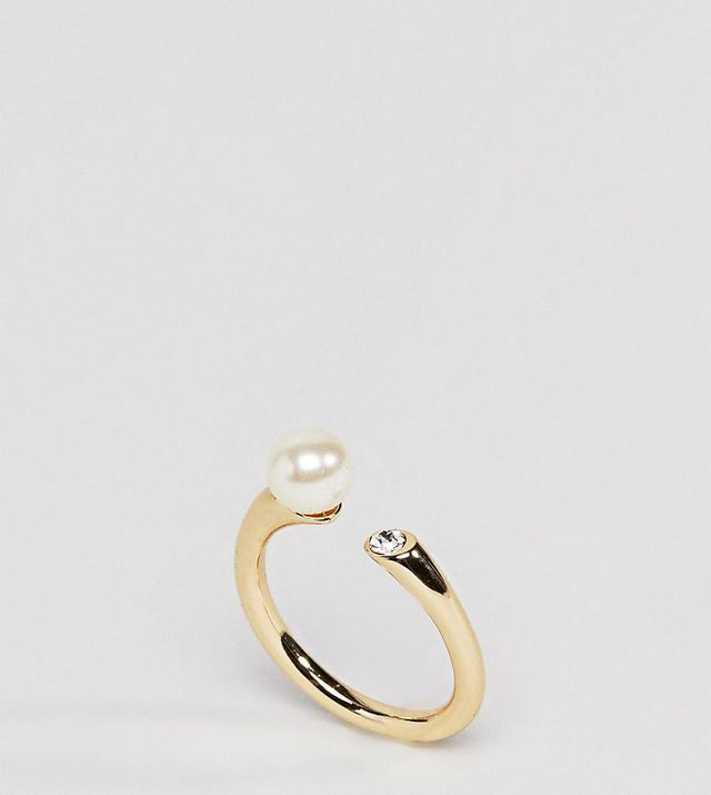 Gold Plated Mona Pearl & Crystal Open Ended Ring