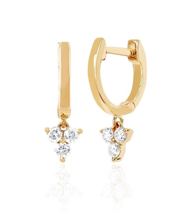 EF Collection Gold Mini Huggie With Diamond Trio Drop Earrings