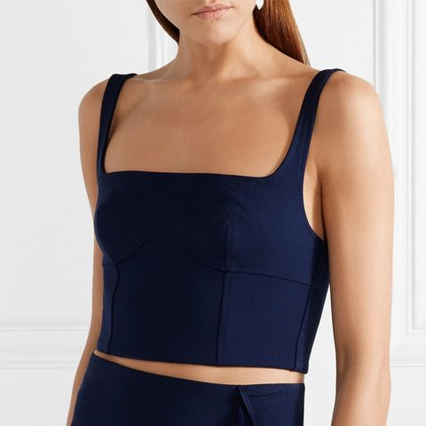 Cropped Stretch Wool-Blend Bustier Top
