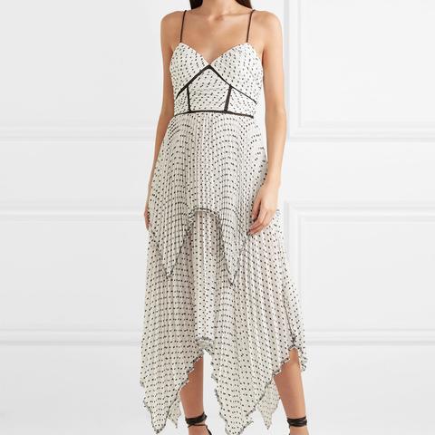 Tiered Pleated Swiss-Dot Chiffon Midi Dress