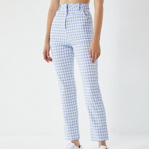High-Rise Gingham Trousers
