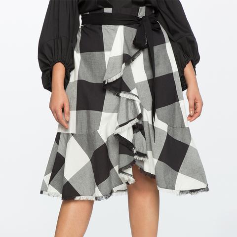 Plaid Ruffle Skirt With Paper Bag Waist