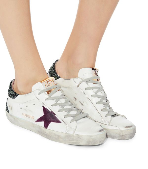Golden Goose Superstar Green Glitter Back Low-Top Sneakers White 41