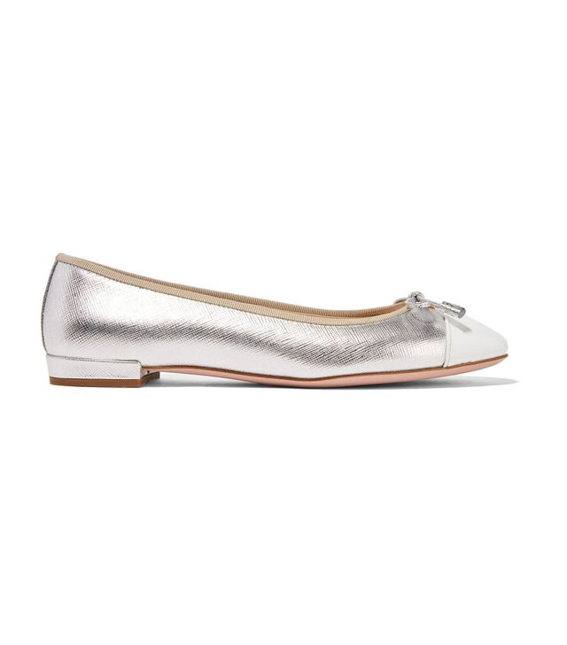 Metallic Textured And Patent-leather Ballet Flats