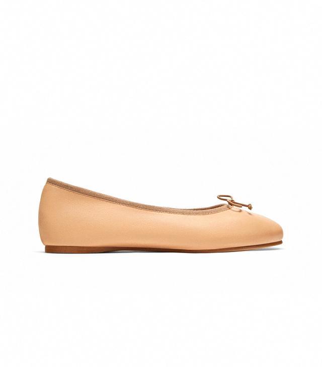 Zara Leather Ballerinas With Bow Detail