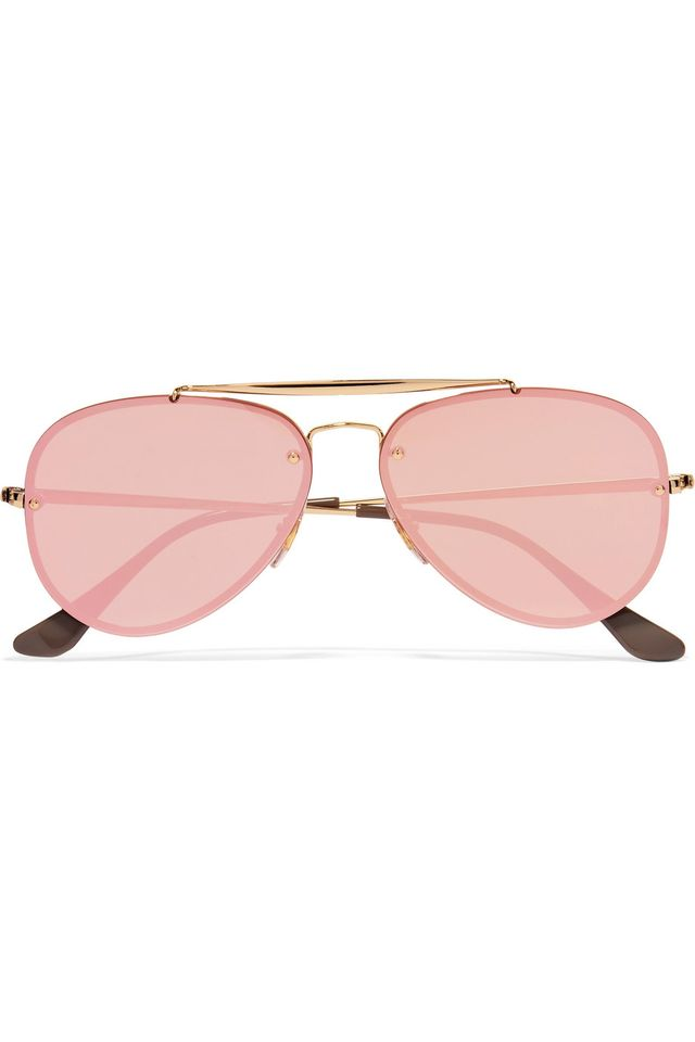 Ray Ban Aviator Gold-Tone Mirrored Sunglasses