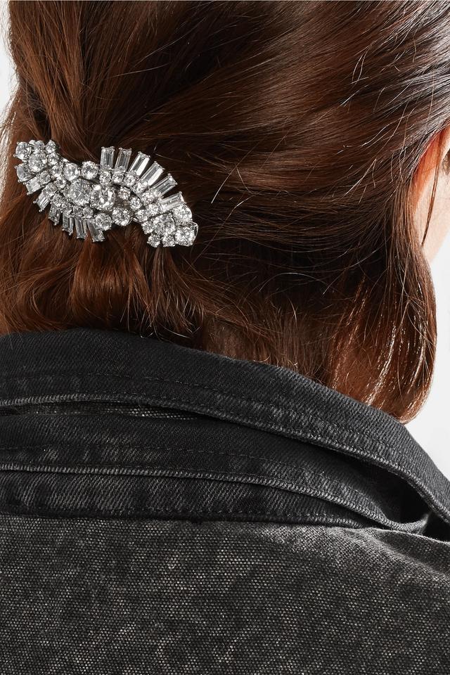 Kenneth Jay Lane Rhodium-Plated Cubic Zirconia Hairclip