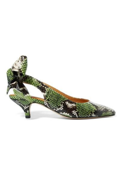 Sabine Snake-effect Leather Slingback Pumps