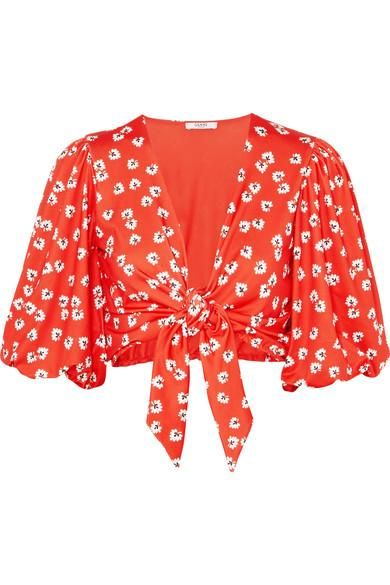 Columbine Tie-front Floral-print Stretch-jersey Top