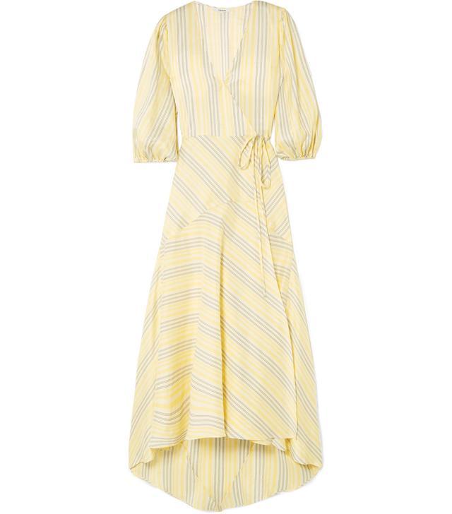 Striped Silk Midi Dress