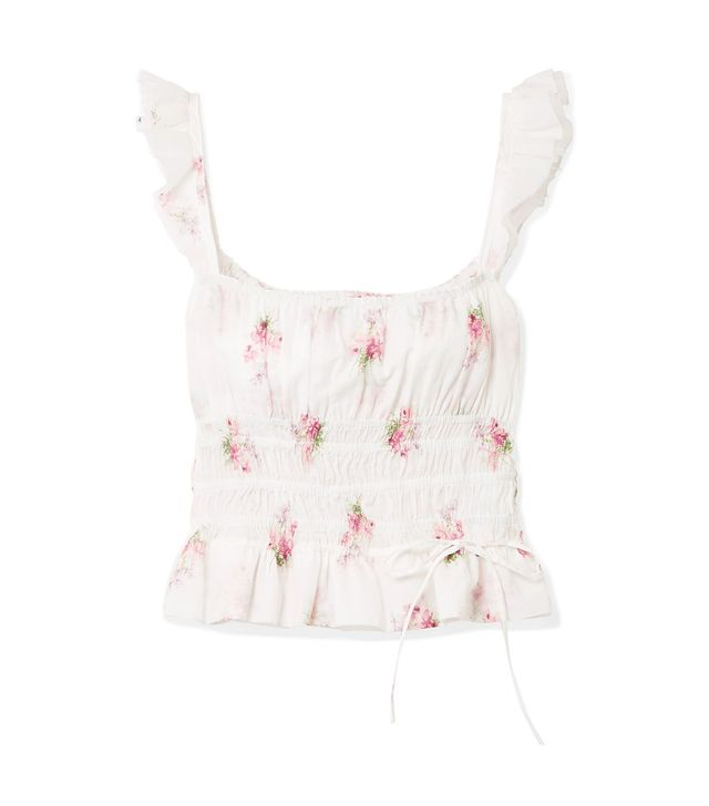 Thadine Shirred Floral-print Cotton-voile Top