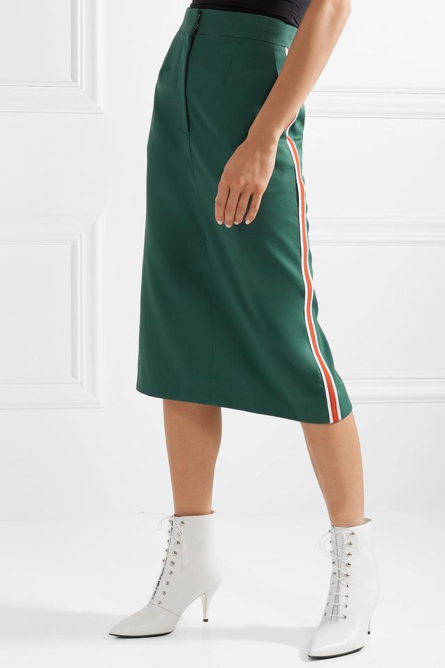 Striped Wool Midi Skirt