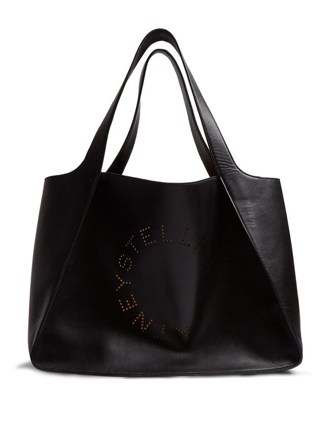 Perforated-logo faux-leather tote
