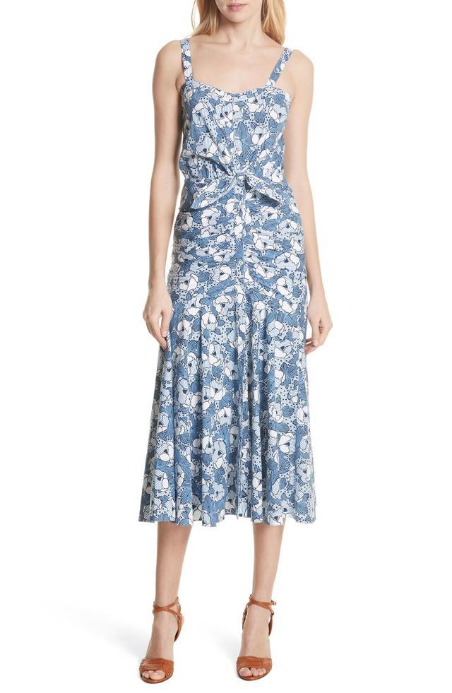 Marena Ruched Waist Floral Midi Dress