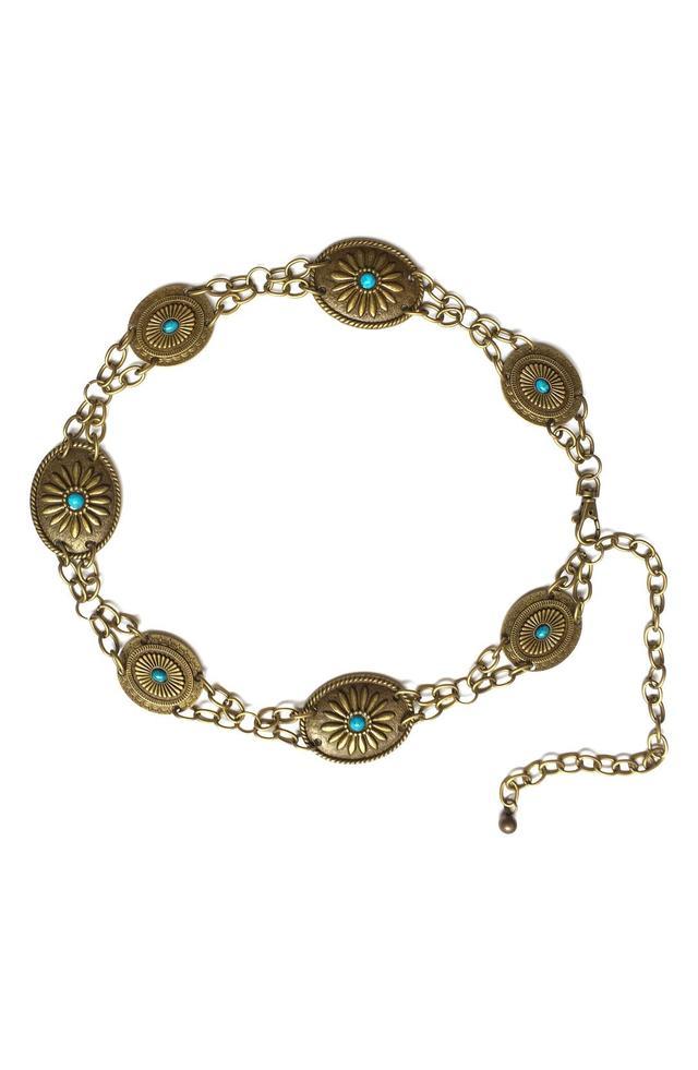 Women's Lovestrength Camilla Genuine Turquoise Chain Belt