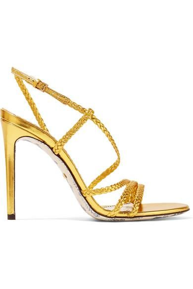Haines Braided Metallic Leather Slingback Sandals