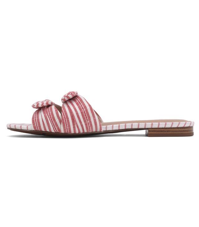 Florence Striped Bow Slide Sandals