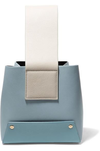 Tab Color-block Textured-leather Tote