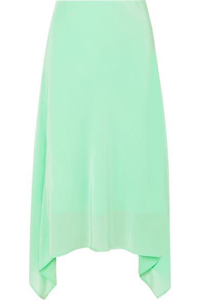 Asymmetric Silk Crepe De Chine Midi Skirt