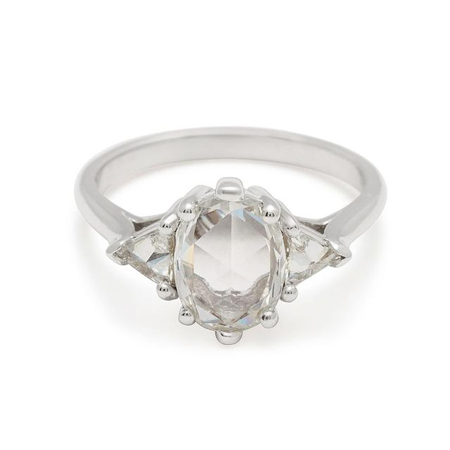 Anna Sheffield Oval Bea Ring Platinum & White Diamond (1.00ct)