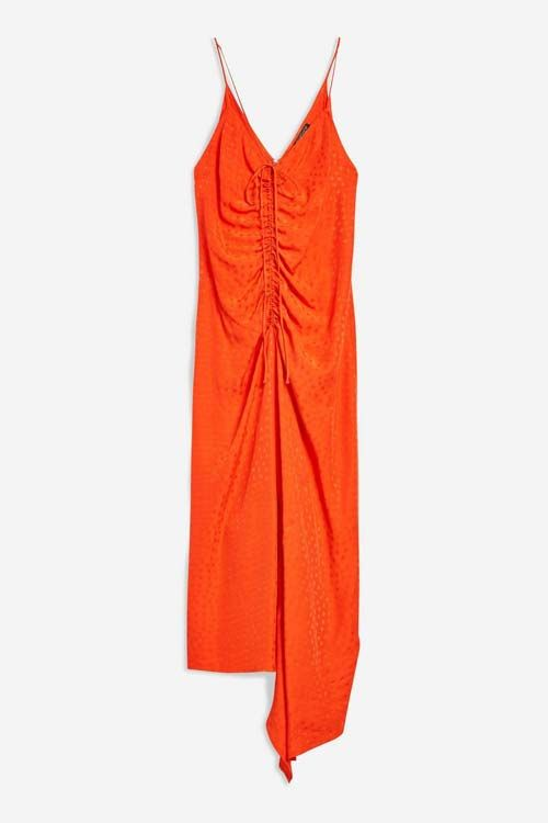 Jacquard Ruched Slip Dresses to Wear With Cowboy boots to a Wedding